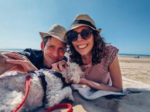 Jo, Hamilton and me on Woolacombe Beach